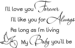 I'll love you forever.. Vinyl Wall Decal Words Lettering