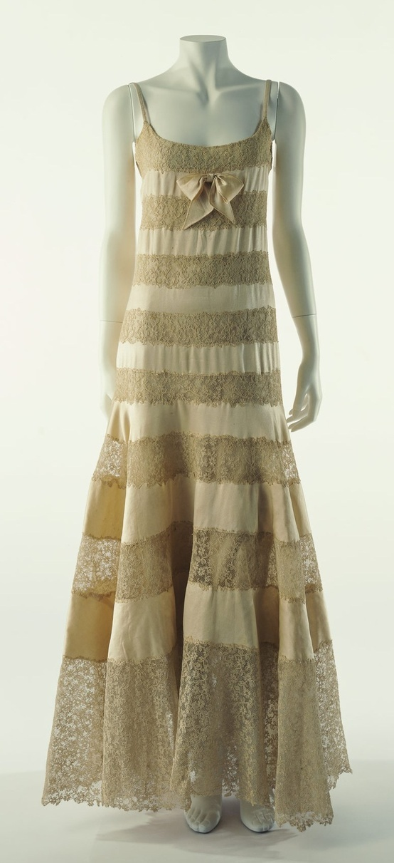 Chanel Dress - 1930's - Designed by Coco Chanel - Silk satin and lace - ©The…