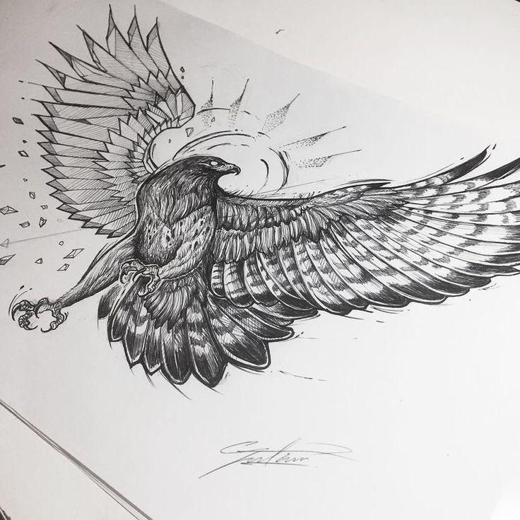 Рисунок орла с распахнутыми крыльями