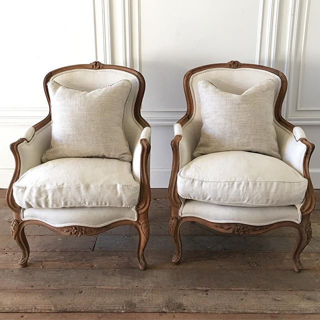 Handsome pair of wood carved bergeres in oatmeal linen coming soon.... #french #bergeres #antiques #organiclinen