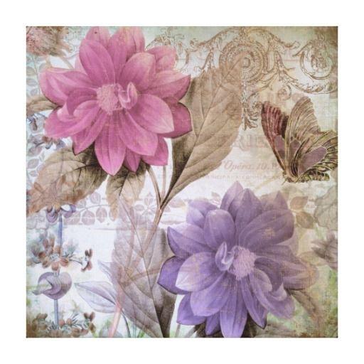 Romance del Victorian dalias rosadas púrpuras Impresiones En Lienzo Estiradas
