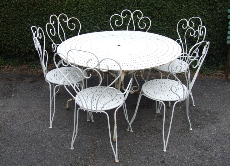 Large french bistro kitchen table and chairs | ... Large Round Vintage French 6 Seater Pierced Top Garden / Patio / Café