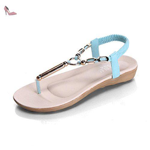 Sandales de plage pour femmes été chaussures plates occasionnels sandales romaines tongs blanc hCW40yZXfL