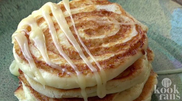 Mjammie: Kaneelbrood-pannenkoekjes met roomkaasglazuur Kaneelbrood-pannenkoekjes, het is niet erg gezond om jezelf elke dag in een stapel van deze pannenkoeken te voorzien voor het ontbijt, maar eens in de zoveel tijd is het een heerlijke manier om te ontbijten. Zeker wanneer het weekend is. Loop