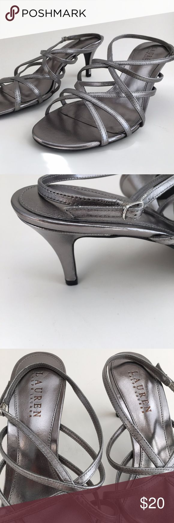 Lauren Ralph Lauren Neve Silver Strappy Heels Very, very gently worn strappy sandals from Ralph Lauren. No toe marks or impressions. Looks brand new on top. As seen in photos, even the sole looks clean and barely worn. The only flaw, which is visible in the last photo, is a small nick at the bottom of one heel. Lauren Ralph Lauren Shoes Heels