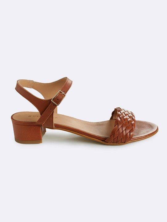Damen-Sandalen, Leder, geflochten - Camelfarbig - 1