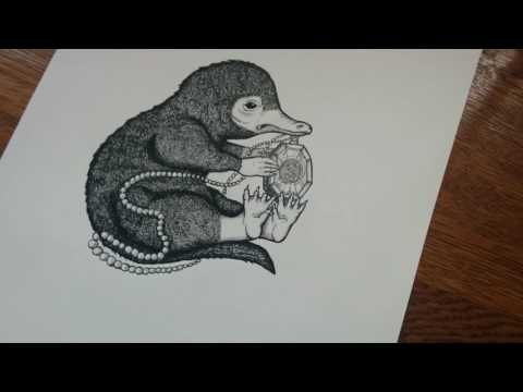 The Niffler And The Horcrux - Ink on Bristol Board - Illustration - Lewis Ryan Art