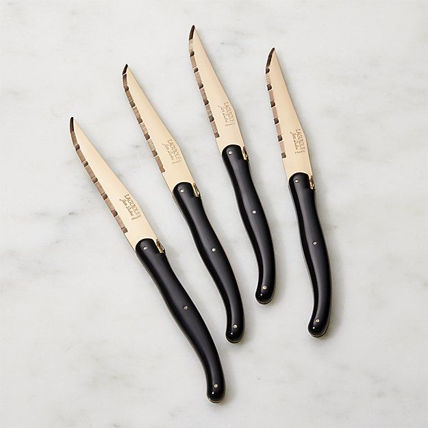 Laguiole ® Copper Steak Knives Set of Four | Crate and Barrel