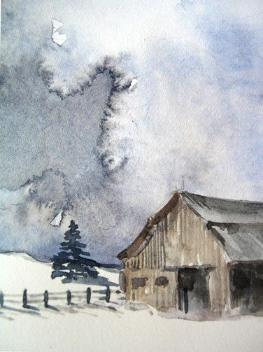 Original Watercolor  Barn by PearTreeGallery on Etsy, $25.00
