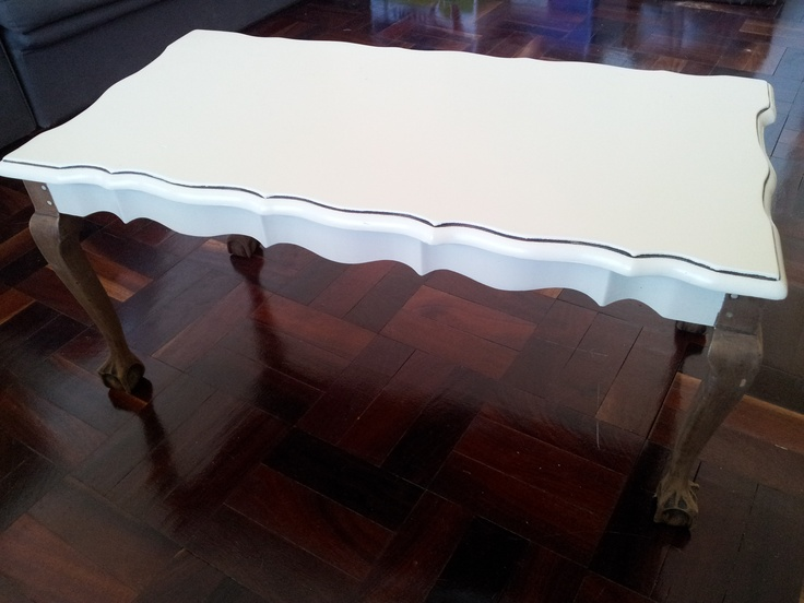 """Ball & Claw coffee table, sanded down and painted in """"Dry Gold"""".... Love the dowels instead of screws on the exposed legs..."""