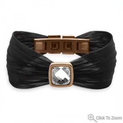 """7.5"""" Black Tone and Rose Gold Plated Stainless Steel Mesh Bracelet wit – 1Deebrand  #fashion #beauty #ladies #bracelet  #womensfashion #1deebrand"""
