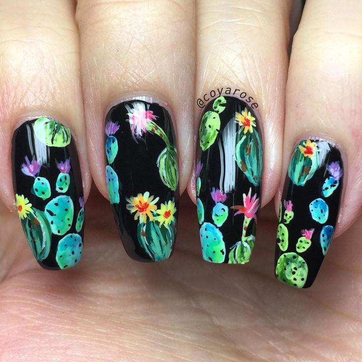 Southwestern cactus succulent pattern nails nail art