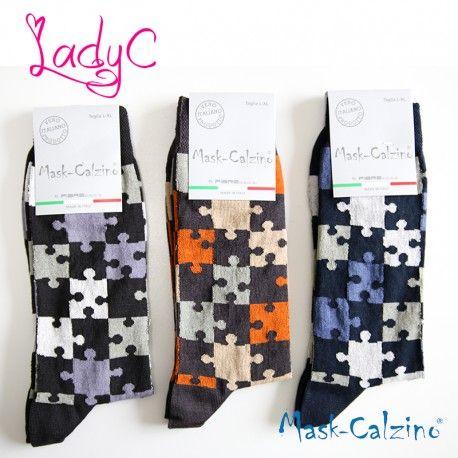 MASK-CALZINO conf.3 calza cotone elasticizzato corta uomo disegno puzzle