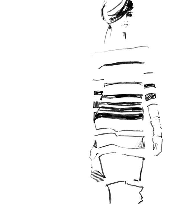 Fashion Sketch - black & white fashion illustration // Judith van den Hoek