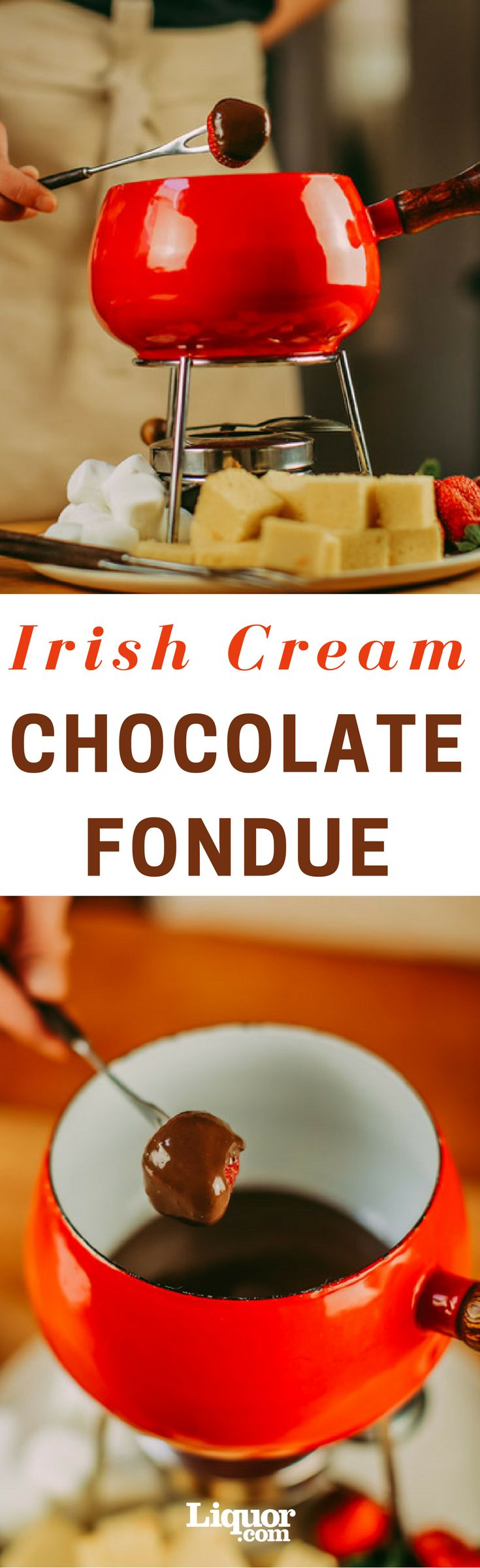 Forget green beer. Instead, cap off your St. Patrick's Day celebration with a rich chocolate fondue with some Baileys stirred in. Fruit might be the traditional accompaniment to fondue, but cubed pound cake, brownie bites and marshmallows are great, too.