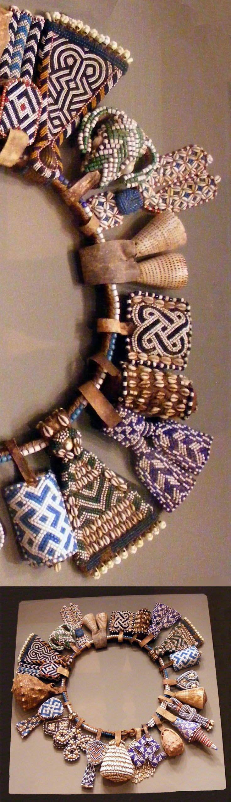 Details from a belt from the kuba people of dr congo glass beads shells leather natural fiber