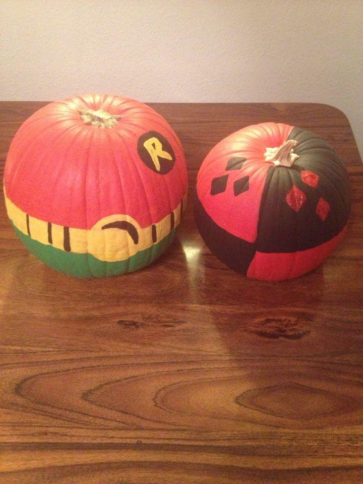 Robin And Harley Quinn Painted Pumpkins Harley Quinn
