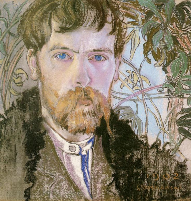 Stanislav Wyspiański , Self Portrait  Drawings, such as 1890 self-portrait and drafts from his journeys across Europe and Poland, are among Wyspiański's well-known works. He later created a herbarium by drawing plants. He was, however, most frequently using the technique of pastel; his first pastel drawings were produced between 1890 and 1894. They mainly present the artist's family, friends and other artists. Wyspiański eagerly drew his children in everyday situations.