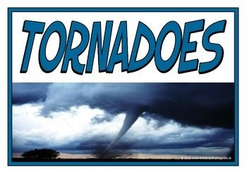 A great set of printables explaining the natural disaster of tornadoes. Includes: title page, what is a tornado? causes of a tornado, effects of a tornado, safety tips for tornadoes, types of tornadoes, and facts about tornadoes. Visit our TpT store for more information and for other classroom display resources by clicking on the provided links.