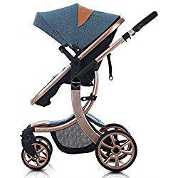 WINGOFFLY Luxury Newborn Baby Pram Infant Foldable Anti-shock High View Stroller Pushchair(Blue)