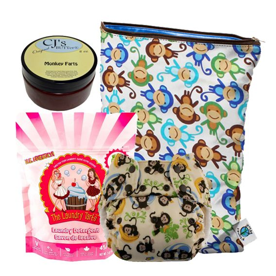 Cozy Bums Monkey Bumdle!  Do you love monkeys, or are you shopping for someone who is going for a monkey theme?  Then the Cozy Bumdles Monkey Bumdle is the perfect piece!  This kit includes: •1 Blueberry One Size Deluxe Pocket in Monkeys •1 bag of The Laundry Tarts in Funky Monkey, Cozy Bums' Exclusive Scent! •1 8 ounce jar of CJ's BUTTer in Monkey Farts •All beautifully packaged in a Planet Wise Monkeys wet bag!