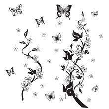 [Szombat Monopoly] diy lakberendezés fekete pillangó szőlő virág fal matrica…