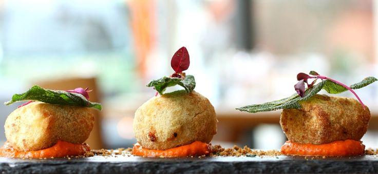 Ricotta and basil dumplings with butternut squash puree and crispy sage.  FFFx