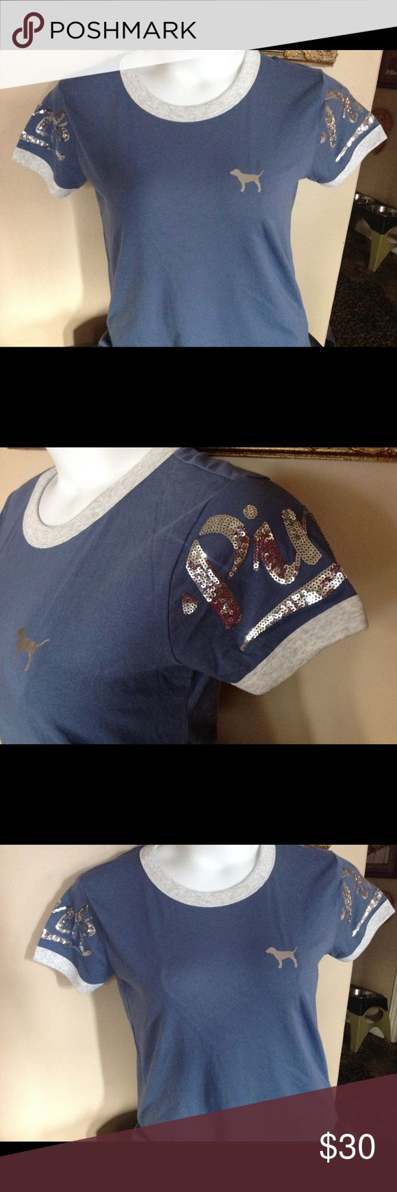 NWT VS PINK Bling Shirt Gorgeous S NWT VS PINK Bling Shirt Gorgeous S  Please see my other items adding every day   Fast shipping PINK Victoria's Secret Tops Tees - Short Sleeve
