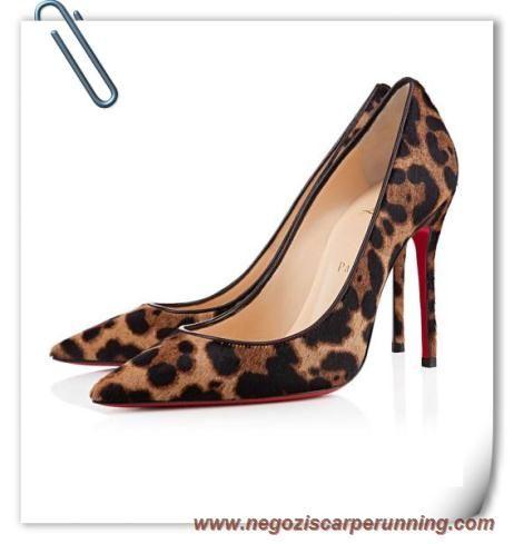 scarpe calcio bambino Donna Christian Louboutin Decollete 554 100mm Leopard