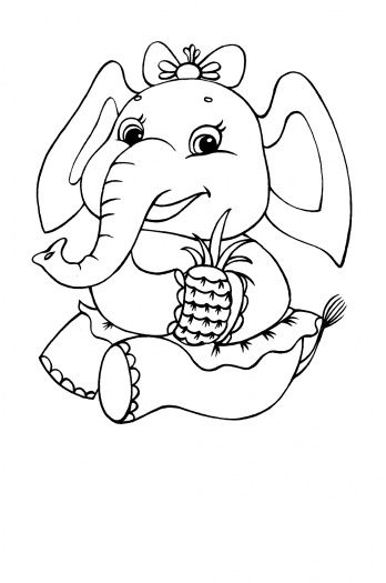 elephant cute elephantpineapplecoloring pagesembroidery