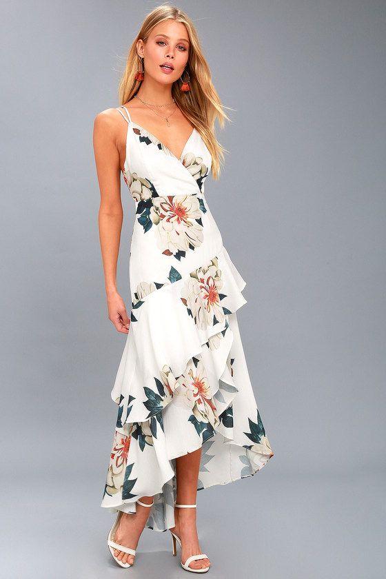 f925f00d480 Cute White Floral Print Maxi Dress - High-Low Floral Dress Floral  Bridesmaid Dresses