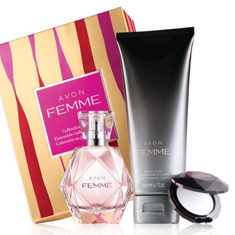 Avon Femme Collection Gift Set $35.00 The essence of glamour captured in an alluring blend of rich jasmine, magnolia and amber woods. www.Facebook.com/shopavonwithdeon