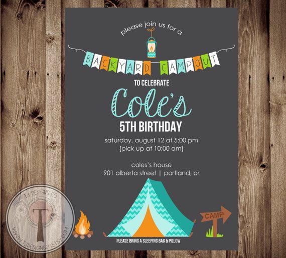 Backyard Campout Birthday Invitation, Boy Sleepover birthday invite, boy birthday invite, camping birthday