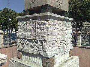 Constantinople - Marble basis of the egyptian Obelisk on  hippodroms Spina.    Sultanahmet Meydanı - Vikipedi