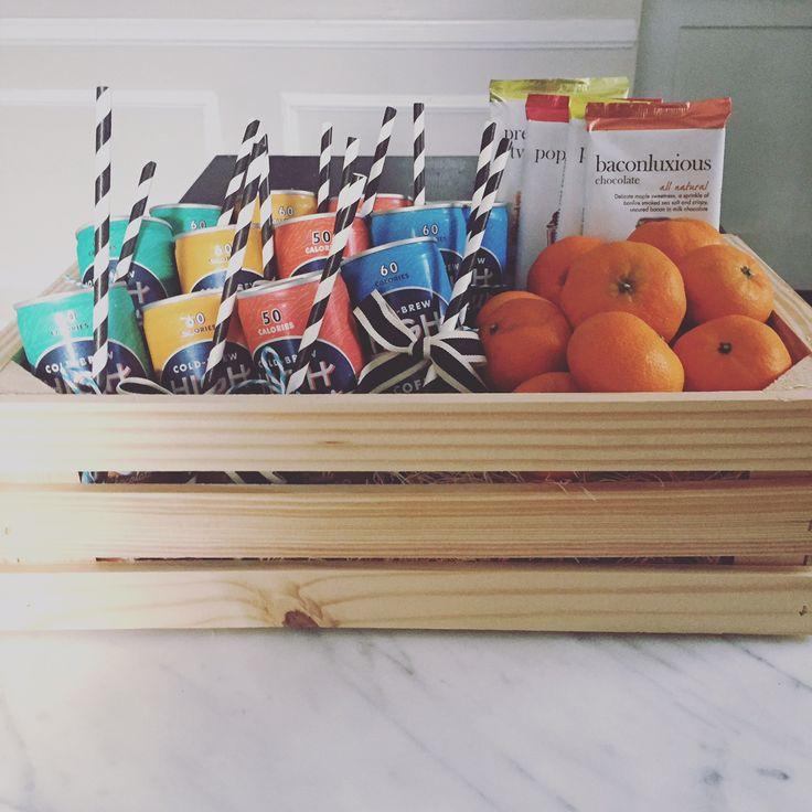 New job gift box (coffee, chocolate, oranges)