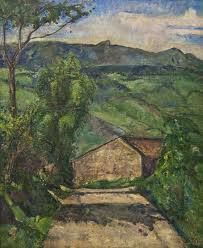 Tosi, Luglio (La strada), 1928.  Milan, Museo del Novecento. The picture shows a country road between two narrow bands of vegetation sloping down to a house enclosed in a mountainous backdrop. It 'a landscape that combines a complex interplay of space and color to the landscape pattern of the road.