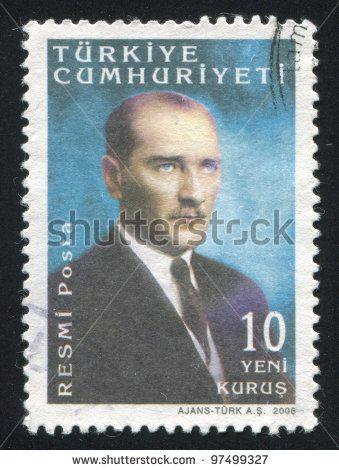TURKEY - CIRCA 2005: stamp printed by Turkey, shows president Kemal Ataturk, circa 2005. - stock photo
