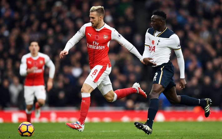 Download imagens Aaron Ramsey, Victor Wanyama, jogadores de futebol, 4k, O Arsenal, Os Artilheiros, Premier League, O Tottenham Hotspur