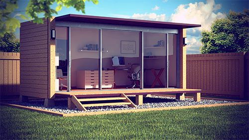 shipping container garden office designed by Shane Peterson, very smart!