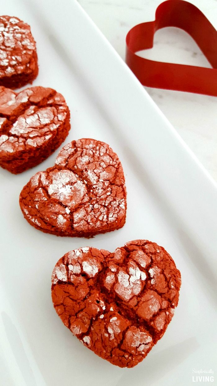 Red Velvet Heart Crinkle Cookies, Valentine's Day Recipes, Cookie Recipes, Heart Cookies
