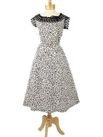 50s Black White Lace Trimmed Dress-XL: Summer Gardens, Vintage Dresses, Cheap Buy, Black White, 50S Black, Trim Dresses Xl, Lace Trim, Gardens Party'S, 50