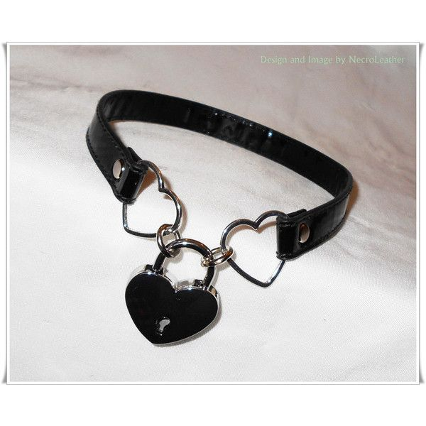 Heart Padlocked PVC/ Vinyl Vegan Leather Kawaii Heart Slave Collar -... ($35) ❤ liked on Polyvore featuring jewelry, necklaces, accessories, chokers, goth choker, gothic choker, locking collar necklace, heart necklace and goth necklace