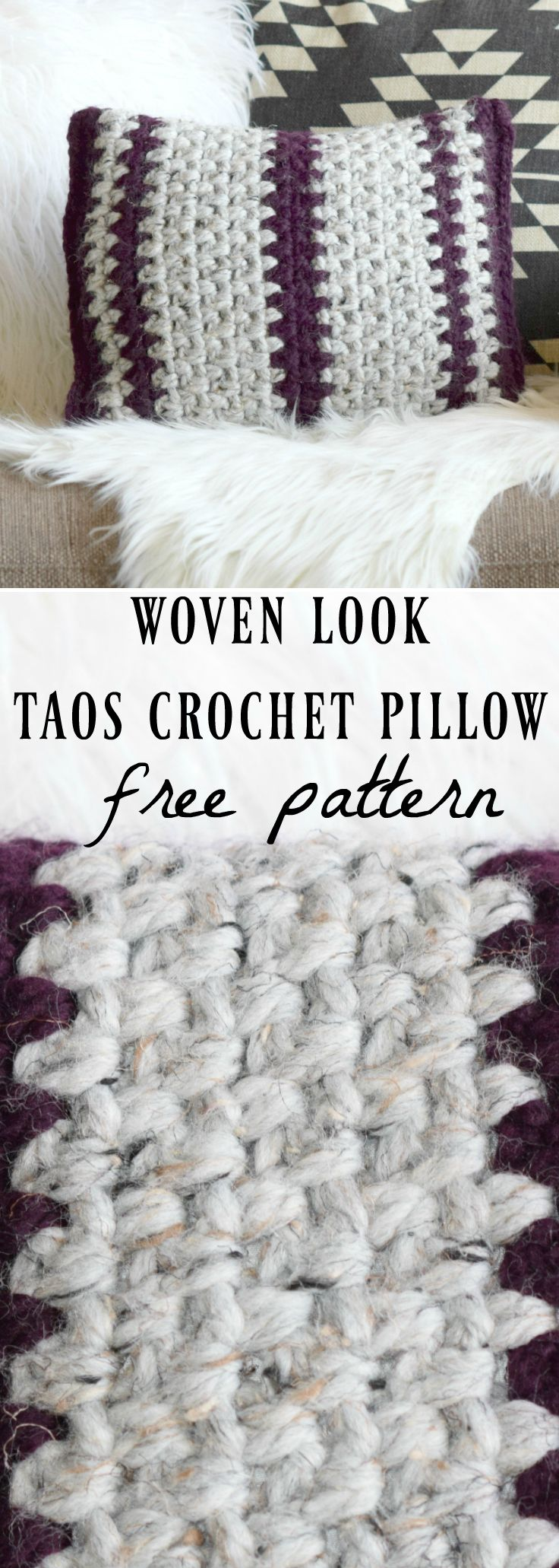 Taos Crochet Throw Pillow & Wool Ease Yarn via @MamaInAStitch