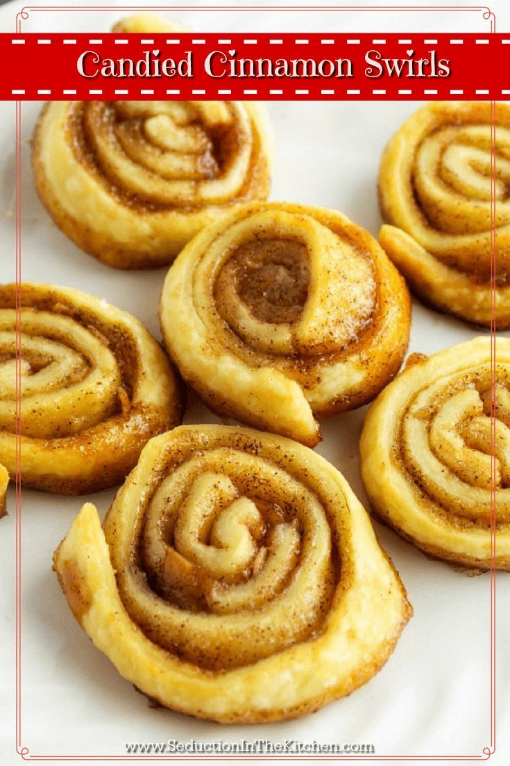 Candied #Cinnamon Swirls is so easy to make with only 4 ingredients! They can easilybecome addictive so you want to make sure you make plentyof these treats. via @SeductionRecipe