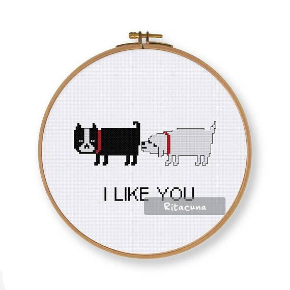 Funny Dog Love cross stitch pattern in lovely palette Floss: DMC Colors: 3 Stitch size: 84 x 49 * Suggested fabric and size: Fabric: 14 count Designed area: 6.00 x 3.50 ------------------ PDF pattern contains: – Floss Palette – Color Symbol Chart – Black and White Symbol Chart