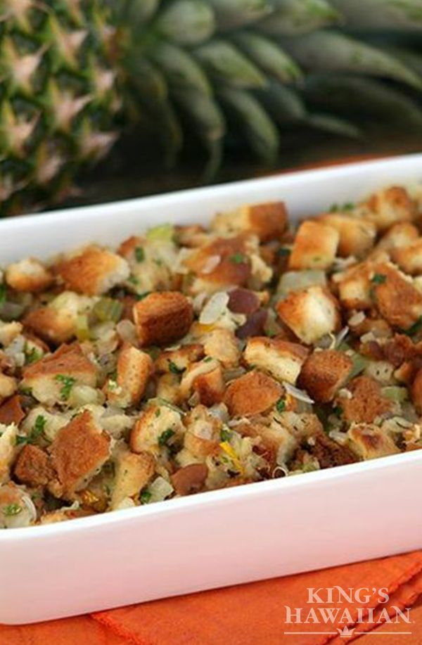 Stuffing made with a little pineapple is the way we do it at KING'S HAWAIIAN. It could be the bread, too.