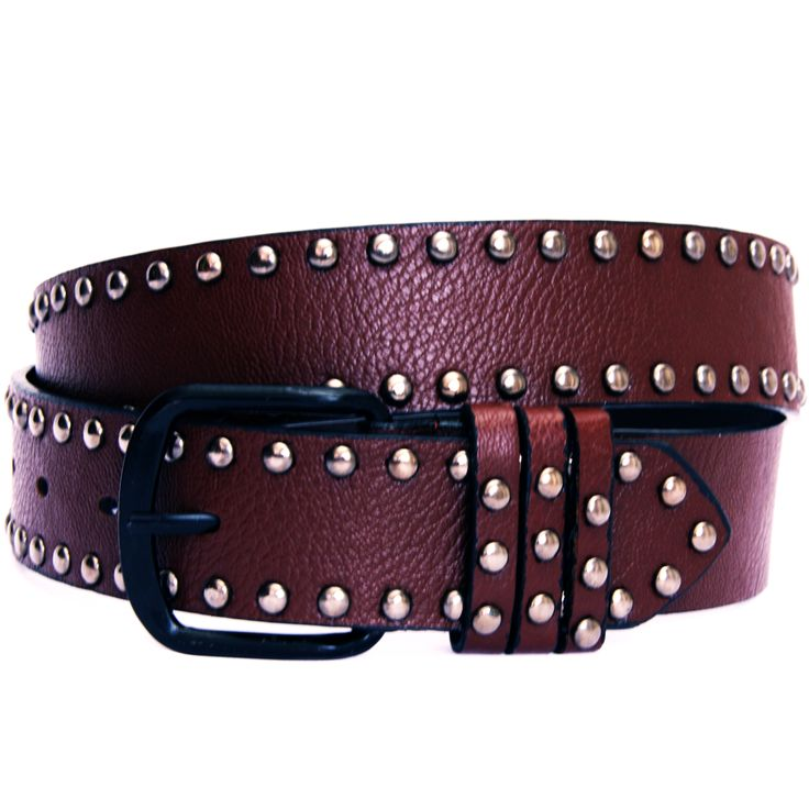 Colour Leatherlook Studded Belt - great accessory! Comes in Emerald, Toffee or Pomegranate... From VICTORS CROWN ONLINE