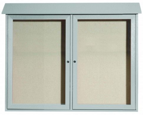 PLD3645-2-2. Light Grey Two Door Hinged Door Plastic Lumber Message Center with Vinyl Posting Surface. 36″ High x 45″ Wide