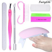 Fairyglo professionnel lampe uv séchoir à ongles uv gel vernis à ongles Nail Lampe USB Durcissement Machine Portable 7 pcs Nail Art Outil ensemble(China (Mainland))