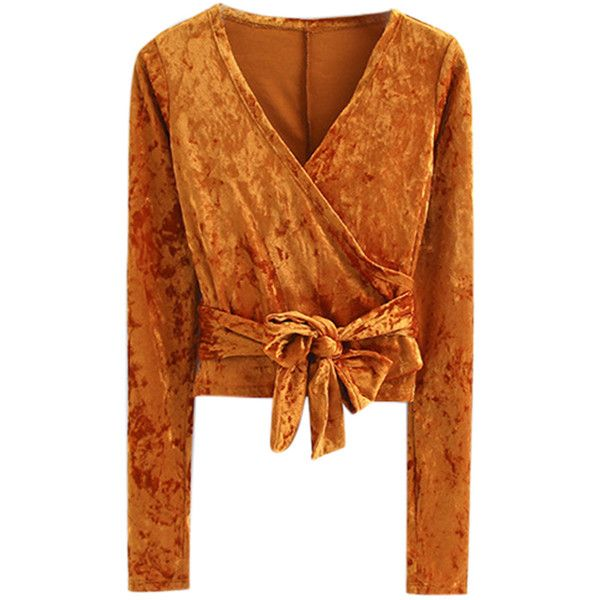 Orange V Neck Wrap Tie Waist Crushed Velvet Long Sleeve Top ($29) ❤ liked on Polyvore featuring tops, shirts, velvet, crushed velvet top, wrap top, wrap style top, orange top and v-neck tops